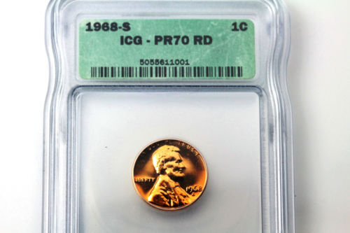 For Sale One ICG Graded PR70 Red 1968-S Lincoln Small Cent Penny Coin (NUM3030)