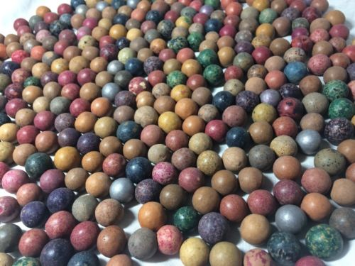 Lot Of 367 Antique Clay Pottery Marbles Solid Sparkle