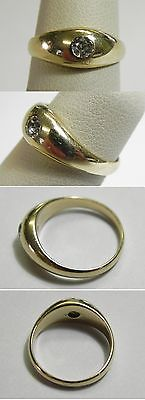 C533 Vintage 14K Yellow Gold .17ct Old Mine Cut Diamond Tapering Band Ring, Sz 5
