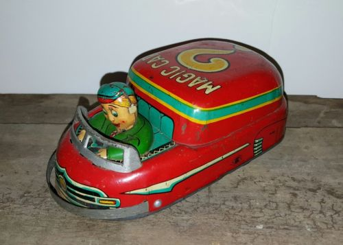 VINTAGE Modern Toys Magic Car Tin Friction Toy Japan - WORKS