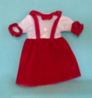 Vintage Doll Dress in Red Velveteen