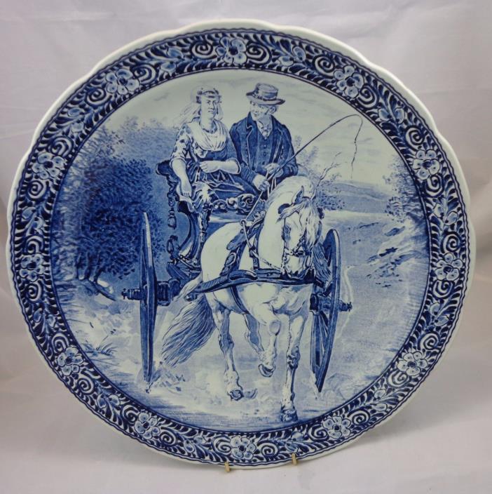 Vintage Delft Boch Horse & Wagon Scape - 15 1/2