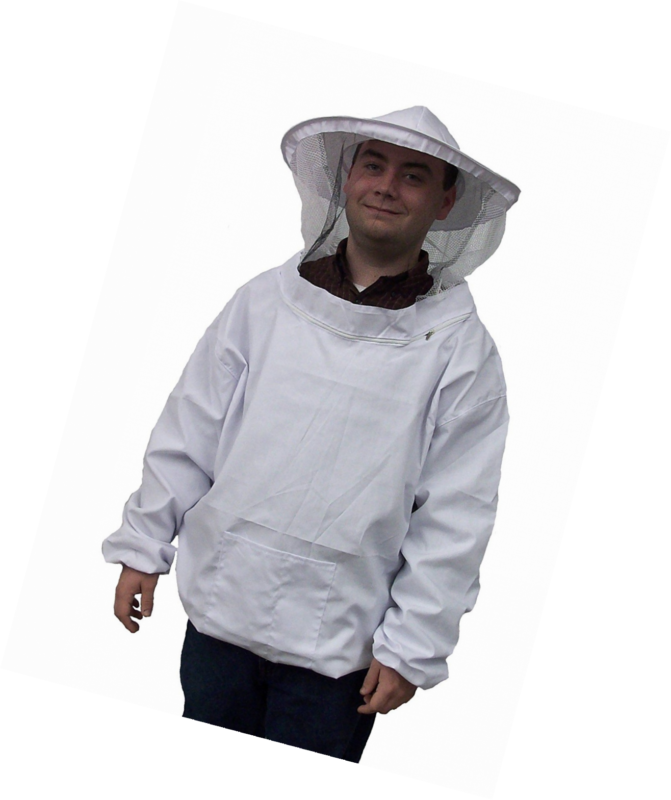 New Professional White Medium / Large Beekeeping / Bee Keeping Suit, Jacket