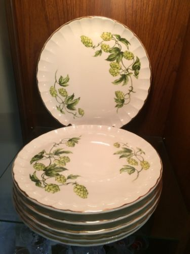 6 DINNER PLATES W. S. GEORGE Green Ivy & Buds ANTIQUE