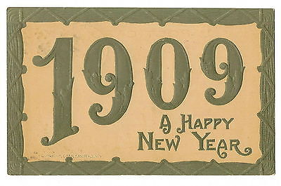 POSTCARD  - VINTAGE NEW YEAR - c. 1908 EMBOSSED -