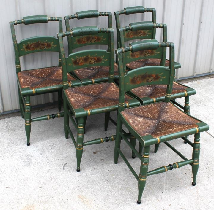 6 HEYWOOD WAKEFIELD BUT HITCHCOCK STYLE RARE GREEN FARMHOUSE DINING ROOM CHAIRS