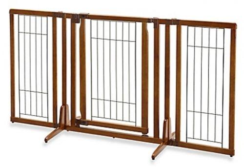 Wide Freestanding Pet Gate With Door Home Indoor Equipment Decorative Accessory