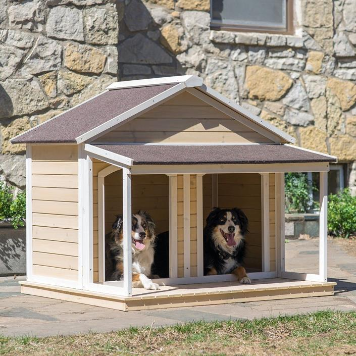 Duplex Dog House Shelter Outdoor Wood Kennel Houses Double Cage Roof Pets Dogs
