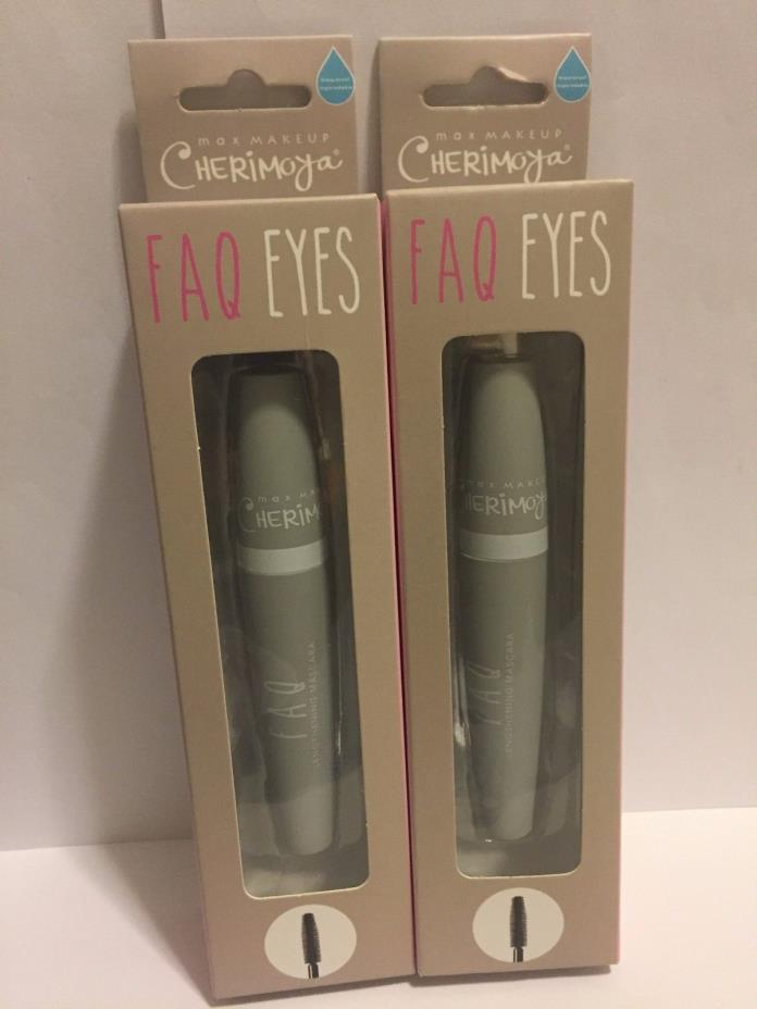 Lot of 2- MAX MAKEUP CHERIMOYA FAQ Eyes Black Lengthening Mascara New Sealed Box