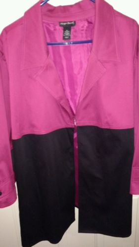 WmnsPlus,Jacket/Blaser, MaggieBarnes, 5X, NWOT, Pink/Black,Fun,Necklace