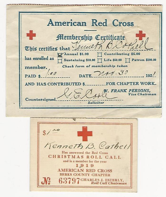 Membership items (2) American Red Cross, Christmas Roll Call, 1919 & 1921, PA