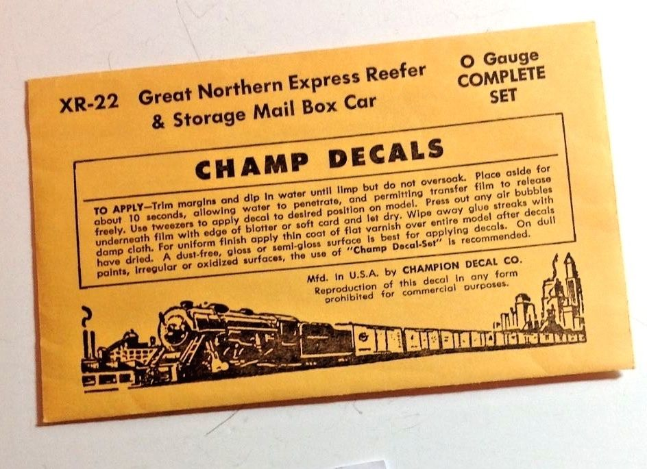 O Scale Decals -  Champ #XR-22  Great Northern Mail Storage Car/Express Reefer