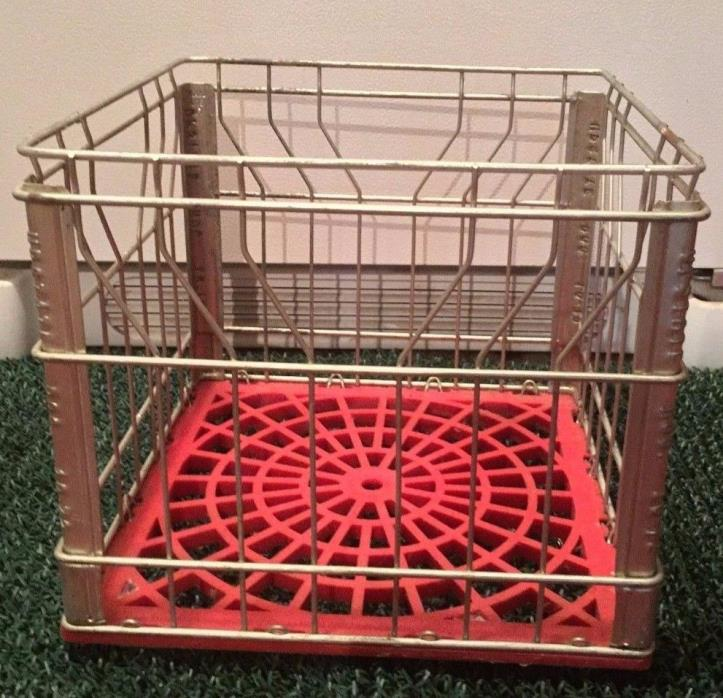 Vintage Milk Crate Metal Steel Wire with Red Plastic Bottom