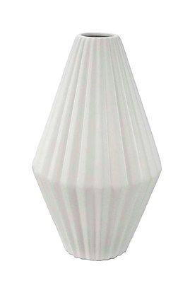 Sagebrook Home Contemporary Pleated Ceramic Vase, White
