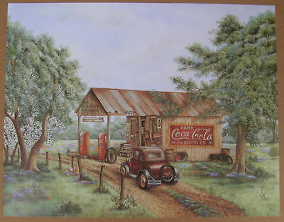Martins Garage Coca Cola Antique Gas Station Unframed Country Picture Print