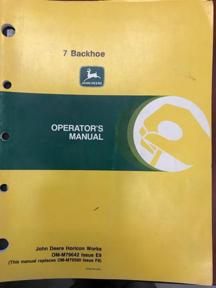 John Deere Operator's Manual 7 Backhoe #OMM79642
