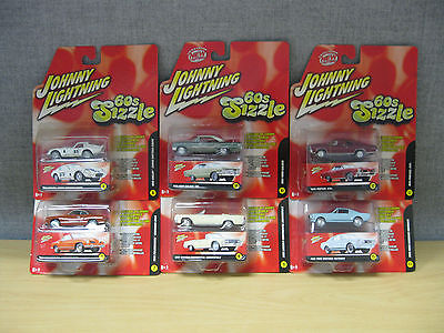 Johnny Lightning 60's Sizzle Lot of 6 RC2 1:64 Die-Cast Collection #50156B NEW