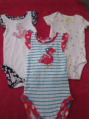 2 GERBER 0-3 MONTHS ONEIES/ CARTERS 0-3 MONTHS LOT OF 3 USED