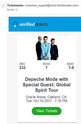 2 GREAT Depeche Mode Seats sec 232 Row 7 #7,8 Oakland CA Oracle Arena 10/10/17