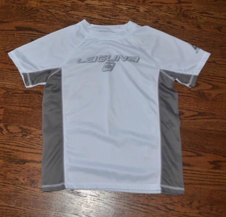 LAGUNA BOYS 10/12 WHITE GRAY RASH GUARD SWIM SHIRT