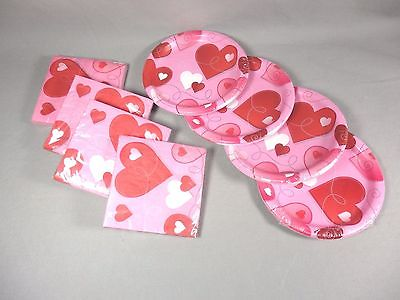 NEW Valentines Day Anniversary Plates and Napkins Four Sets Pink Hearts Sealed