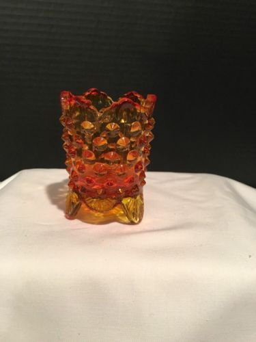 Vintage Amberina Glass Toothpick Holder