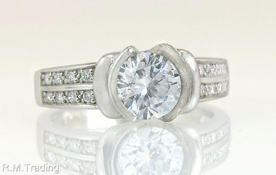 Estate 18K White Gold .16ct Genuine Diamond Semi Mount Engagement Ring 8g