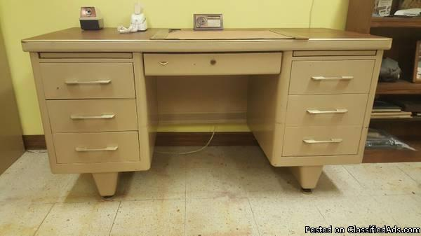 Vintage metal desk, file cabinet, table, cart