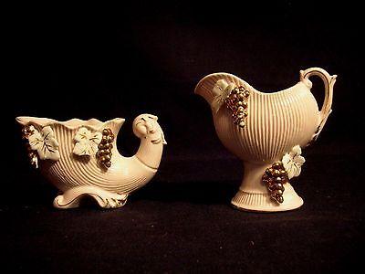 Vintage Japanese Porcelan Ornaments 2pc's Mauve,Gold Ivy Leaf NC Mark FREPrSHIP