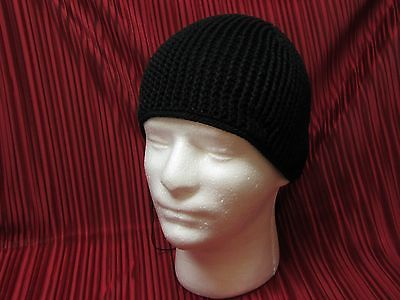 black hat beanie scull cap knit zucchetto SKUFIA pure 100% cotton your size -SJS