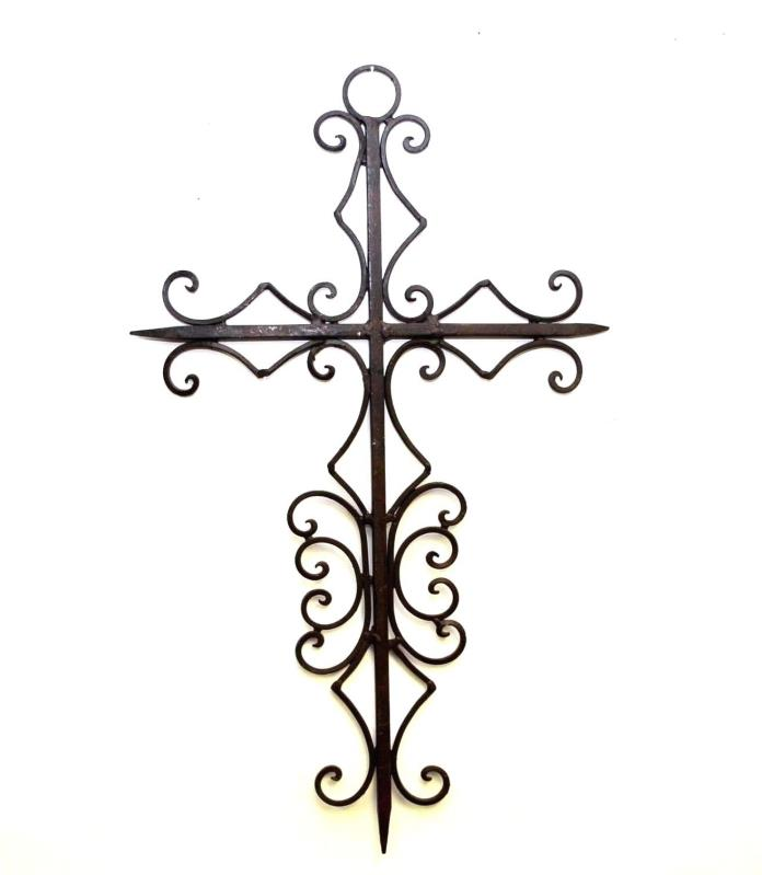 Wrought Iron Wall Cross,Diamond Design, Brown Color- 22