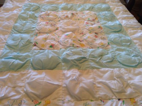 Quilt Baby Blanket Teal & White Nautical Sailboat Fish Star Beach 52