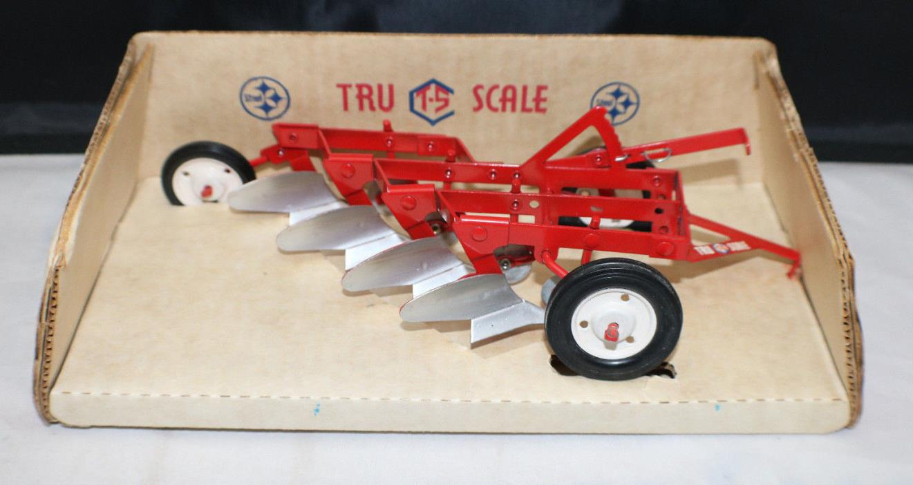 Vintage TRU SCALE 4 Bottom Plow Farm Toy by Carter.  Very Nice