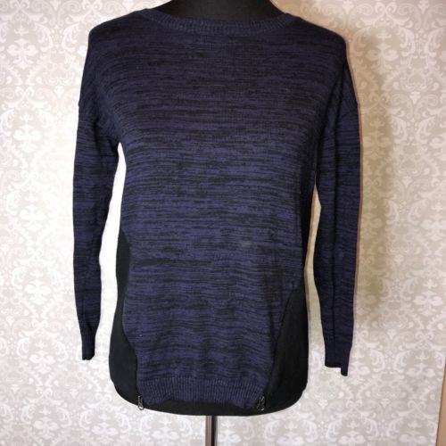 Caslon Nordstrom Small Navy Blue Marled Career LS Sweater Zip Detail Wool Blend