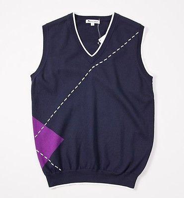 Wmns NWT $180 AQUASCUTUM GOLF Navy Cotton Sweater Vest M Argyle Trim