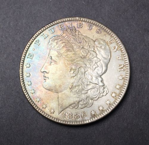 1886-P RAINBOW TONED Silver Morgan Dollar $1 US Coin - (#b35)