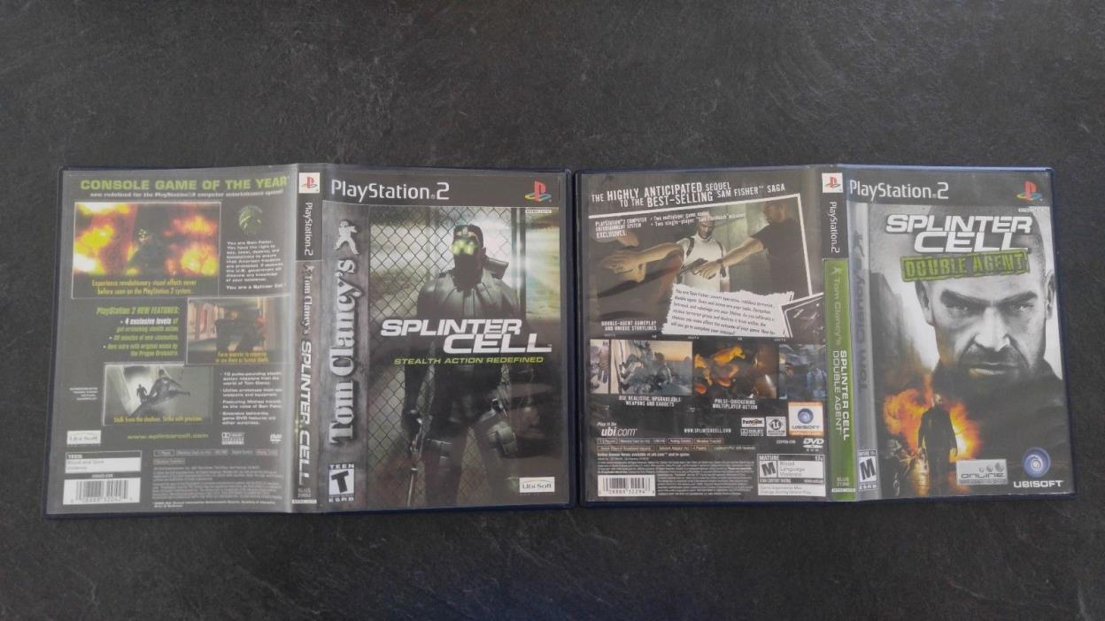 Splinter Cell: Stealth & Double Agent - Playstation 2 - PS2 Set - Fast Ship!