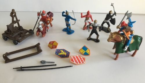 Make Believe Play Figures Knights Horses Weapons Large LOT