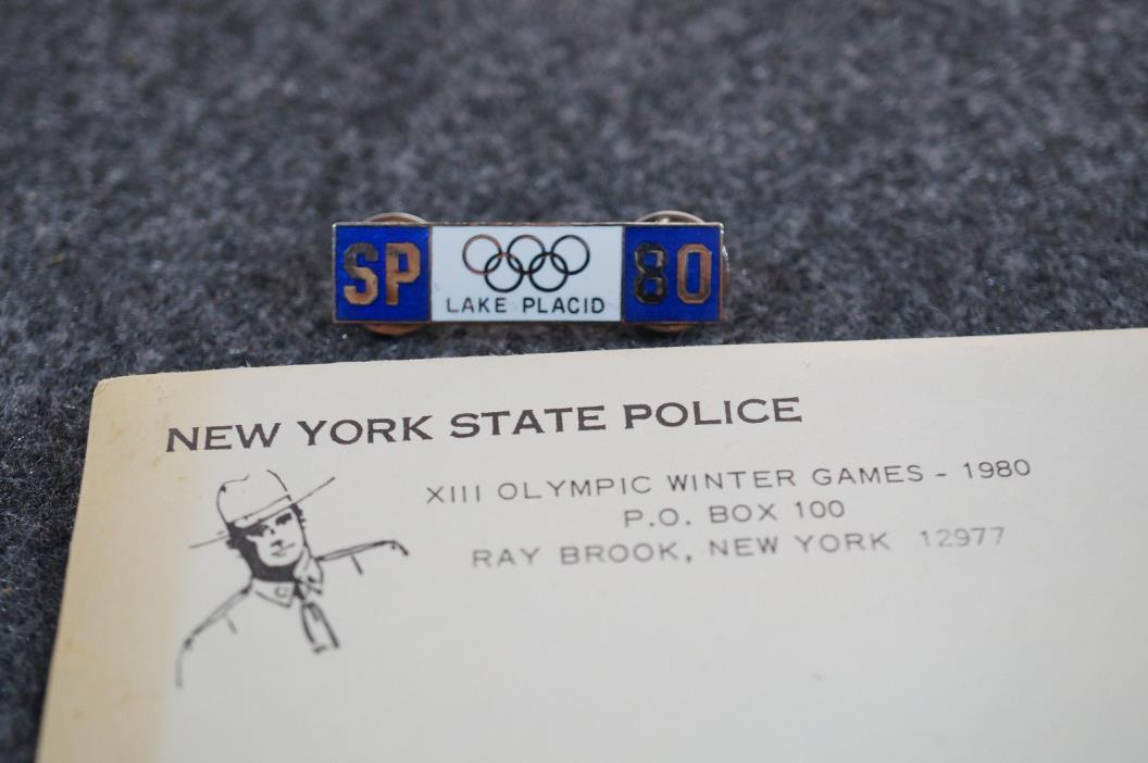 1980 New York State Police Lake Placid XIII Olympic Winter Games Pin & Envelope