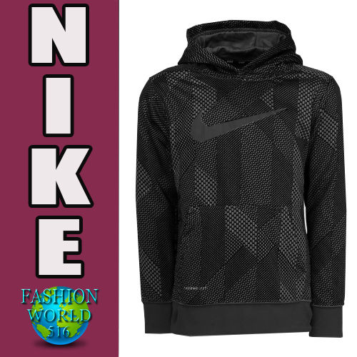 Boy's Size Small Nike KO 3.0 Swoosh All Over Print Pullover Hoodie Black/Grey