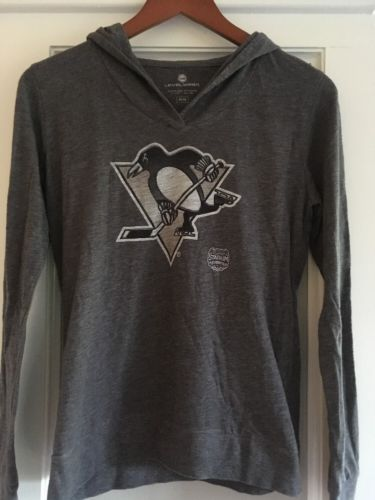 Level Wear Long Sleeve Hooded Stadium Shirt Penguins Hockey M