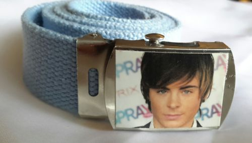Zac Efron Hairspray belt sliding buckle canvas belt light blue 41