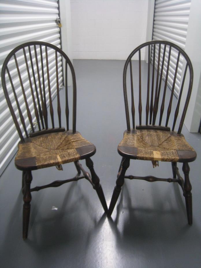 PAIR OF VINTAGE WINDSOR CHAIRS WITH RUSH SEATS FURNITURE