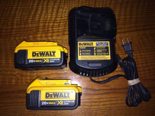 2 DeWALT DCB204 4.0 Ah 20V MAX XR Li-Ion Battery & DCB101 12V / 20V Max Charger