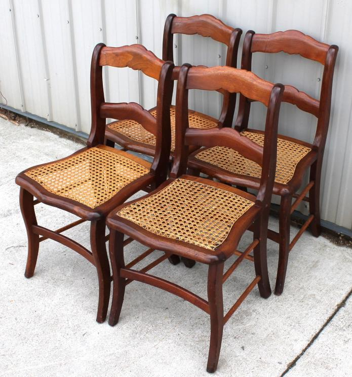 4 1870 1880s VICTORIAN WALNUT CANE SEAT DINING ROOM CHAIRS