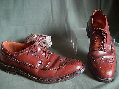 TOWNCRAFT wingtips vintage mens dress SHOES sz 11 red brown NEED HEELS lace ups
