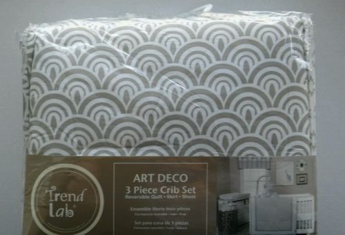 New Trend Lab Art Deco 3 Piece Crib Bedding Set grey baby fitted sheet skirt