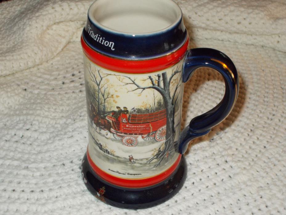 1990 Budweiser Bud Beer Clydesdale Horse Hitch Wagon Stein/Mug
