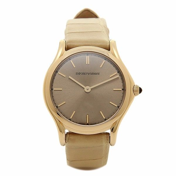 EMPORIO ARMANI Women Watch Swiss Made Gold Beige Tone Leather 36mm Retail $995