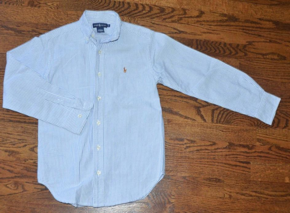 RALPH LAUREN BOYS M 8 BLUE WHITE STRIPED CHAMBRAY LONG SLEEVE DRESS SHIRT EASTER